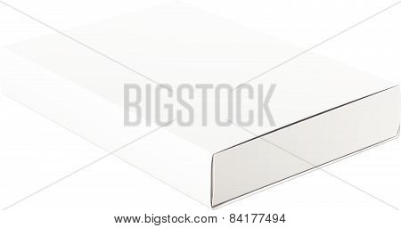 Slim White Package Product Cardboard Box. For Software, electronic device and other. Vector illustra