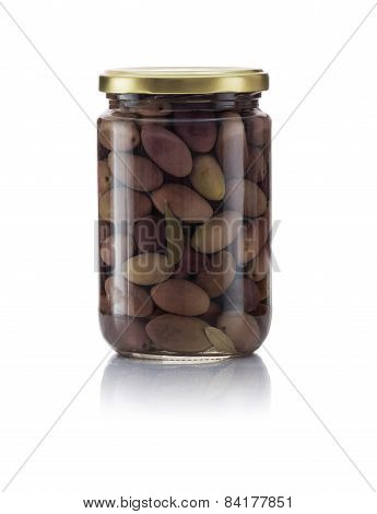 Glass Jar Of Pickled Kalamata