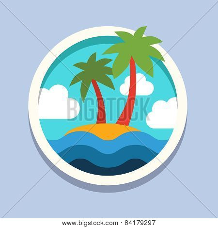 summer vacation holiday tropical ocean island with palm tree. Travel, flat style vector