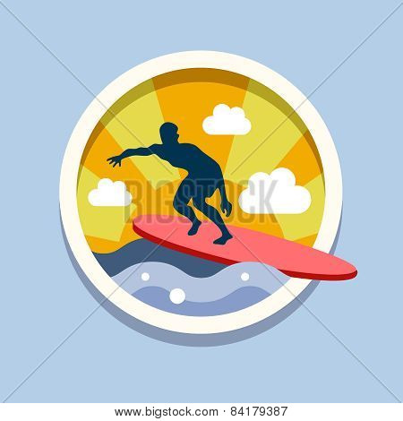 Surfing. Travel, flat style vector