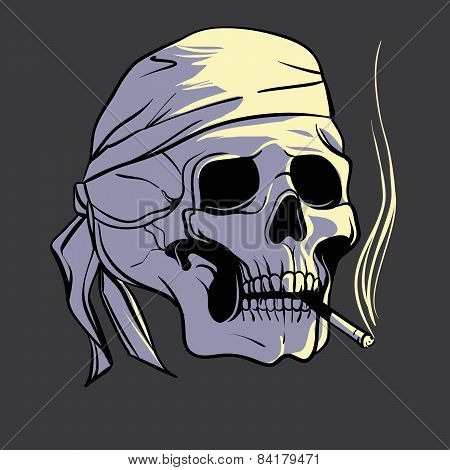 Smoking skull, vector illustration