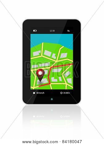 Tablet With Navigation Application Isolated Over White
