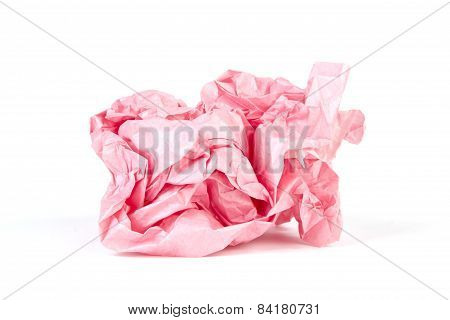 Crumpled Wrapping Paper In A Ball On White