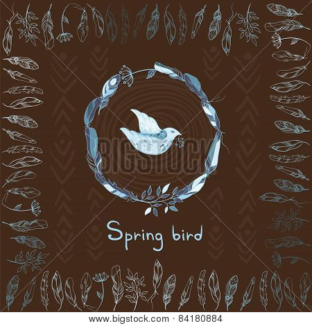 Vector Background With Spring Bird And Frame Made Of Feathers
