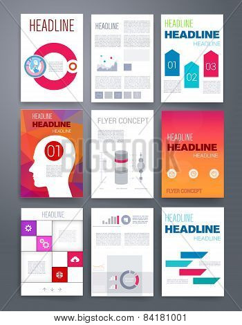 Templates. Vector flyer, brochure, magazine cover for print and web marketing. Applications and Demo