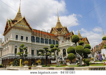 Exterior of the Wat Phra Kaew complex buildings in Bangkok, Thailand.