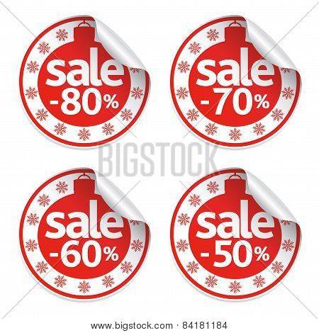 Set New Year sale stickers