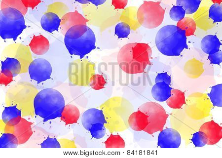 Multicolored Background With Red, Blue And Red Splatter