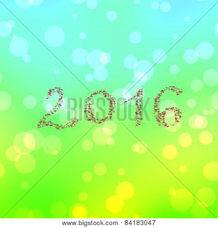Inscription 2016 composed of butterflies on bokeh background