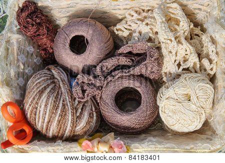 Knitting in basket