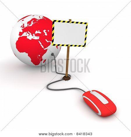 Navegando por la Web en rojo - bloqueado por una señal Rectangular blanca con rayas de advertencia