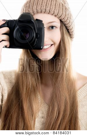 Good-looking Teenage Girl Holding Digital Camera