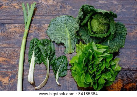 Fresh Savoy Cabbage And Chard