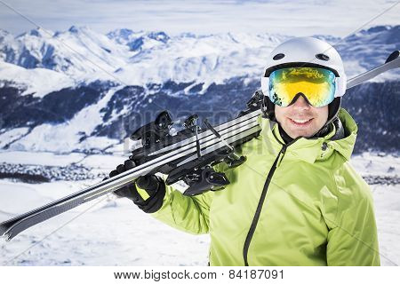 Young successful men ski mountain winter resort