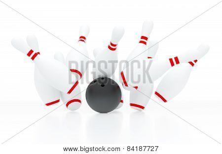 Bowling Strike (3D Render)