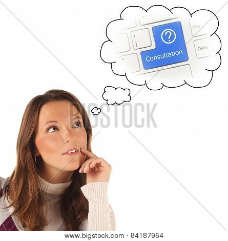 Close-up Portrait Of Girl Dreaming About On-line Consultation (isolated)