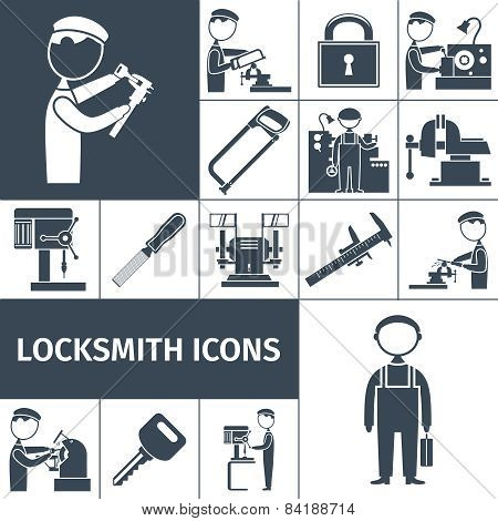 Locksmith Icons Black