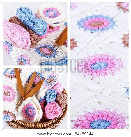 Crocheting Collage In Pink And Blue Colors