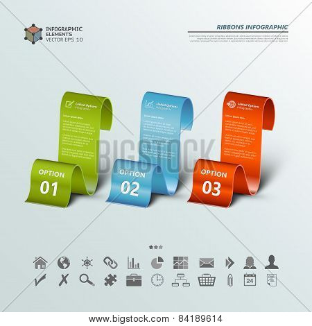 Three Ribbons Infographic Backgrounds