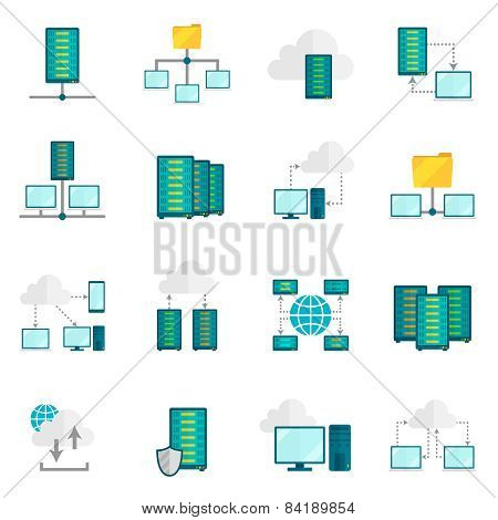 Hosting service flat icons set