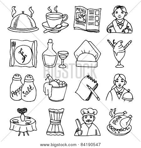 Restaurant dishes black outline icons set