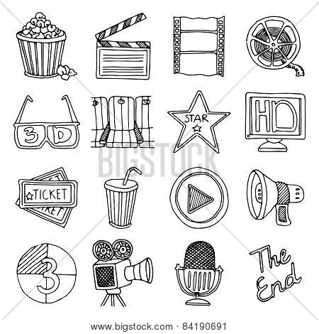 Cinema movie vintage icons set