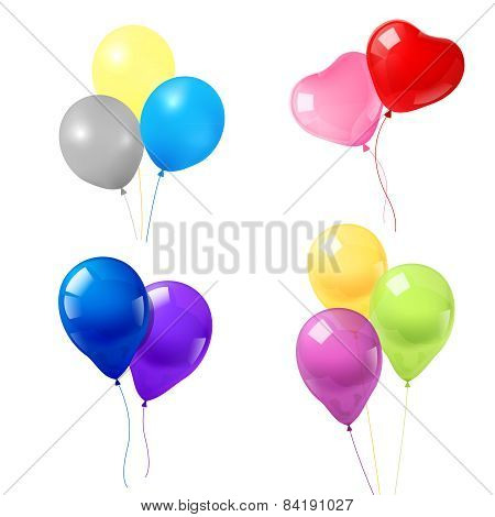 Colorful balloons icons composition