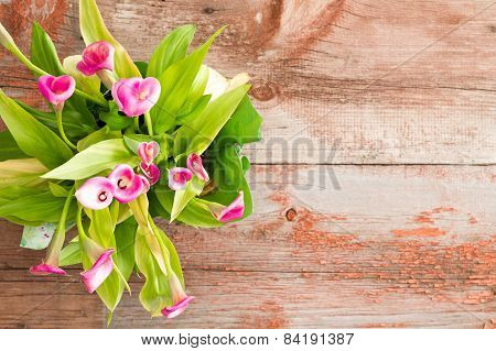 Fresh Calla Lilies On Table With Copy Space