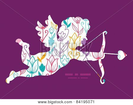 Vector colorful tulip flowers shooting cupid silhouette frame pattern invitation greeting card templ