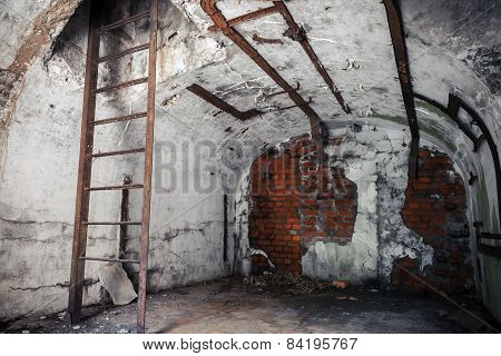 Old Empty Abandoned Bunker Interior With White Walls