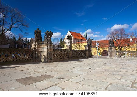 Cobblestone Square In Front Of Loreta And Capuchin Monastery - Hradcany, Prague, Czech Republic