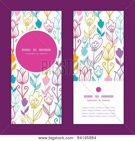 Vector colorful tulip flowers vertical round frame pattern invitation greeting cards set