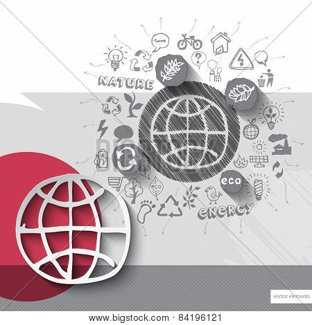 Paper and hand drawn earth globe emblem with icons background