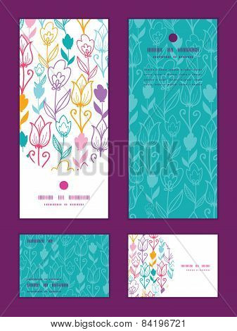Vector colorful tulip flowers vertical frame pattern invitation greeting, RSVP and thank you cards s