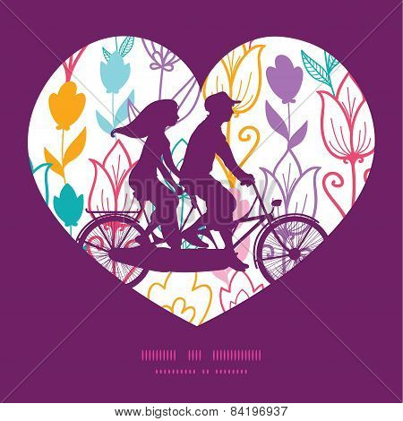 Vector colorful tulip flowers couple on tandem bicycle heart silhouette frame pattern greeting card