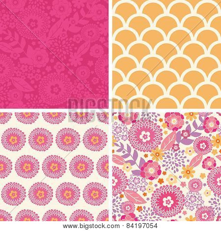 Vector warm summer plants set of four matching repeating patterns