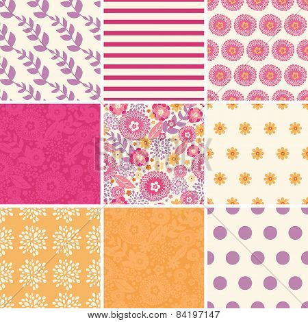Vector Warm Summer Plants Set of Nine Matching Repeating Patterns Backgrounds