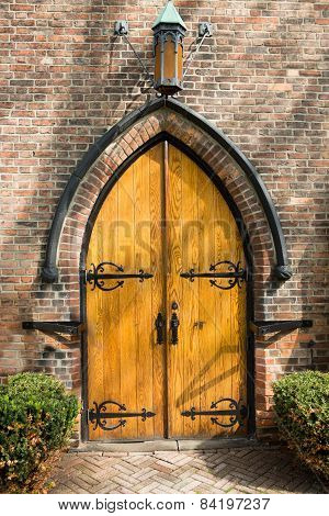Old Arched Wooden Door