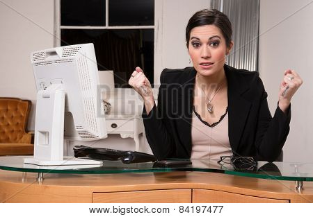 Business Woman Customer Service Center Angry Facial Expression