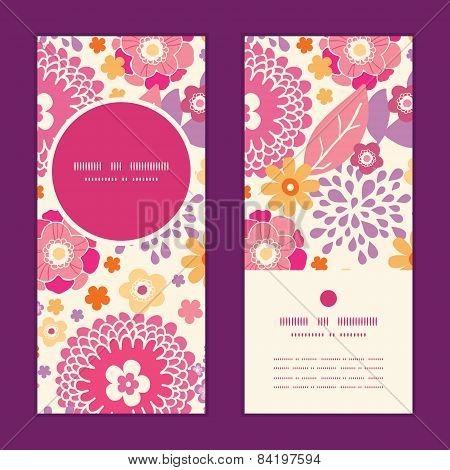 Vector warm summer plants vertical round frame pattern invitation greeting cards set
