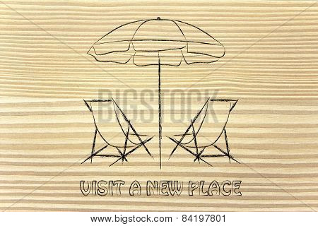 Travel Industry: Booking Holidays, Chairs And Beach Umbrella Illustration