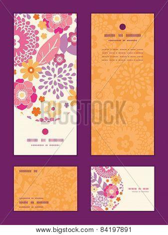 Vector warm summer plants vertical frame pattern invitation greeting, RSVP and thank you cards set