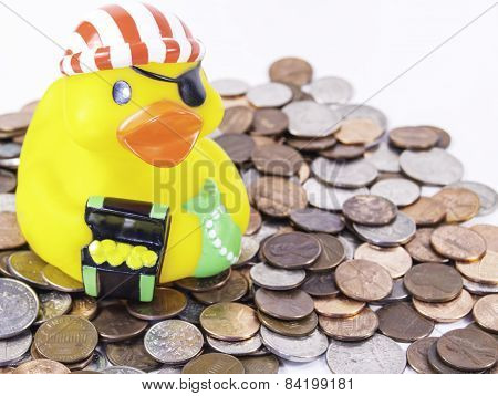 Pirate Rubber Duck Sitting on His Loot
