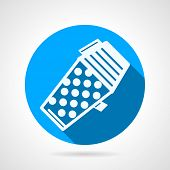 pic of hopper  - Round blue flat vector icon with white silhouette full hopper for paintball weapon on gray  background - JPG