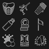 image of paintball  - Set of white contour vector icons for paintball equipment and accessory for paintball on black background - JPG