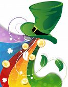 pic of leprechaun hat  - Rainbow and Leprechaun hat with gold coins on white background - JPG