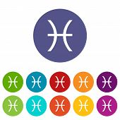 foto of pisces  - Pisces web flat icon in different colors - JPG