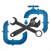picture of plumbing  - Plumbing repair and pipeline business for vector - JPG