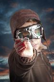 picture of bomber jacket  - Boy dressed up in pilot - JPG