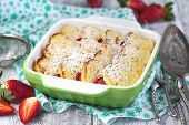 image of french toast  - Baked French Toast With Strawberry in baking dish - JPG